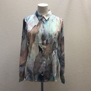H&M water color Button Down Size 8